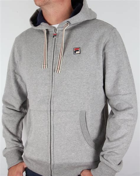 Hoodie Zipper Sweater Fila fila vintage bagnoli hoodie grey hooded jacket track top mens
