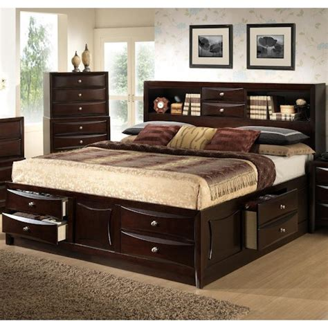 lifestyle furniture bedroom sets lifestyle c0172 queen storage bed w bookcase headboard