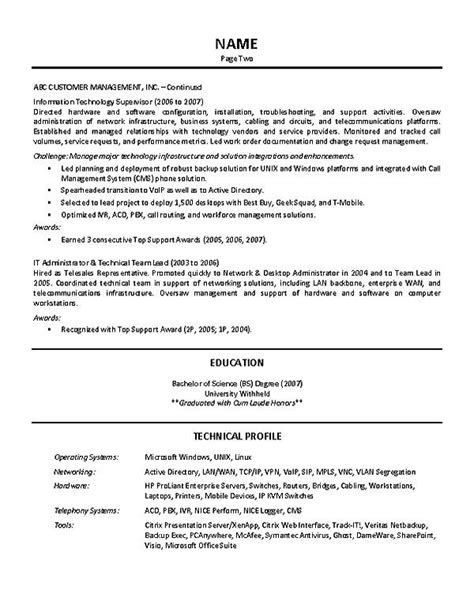 Leader Resume It Supervisor Resume Exle
