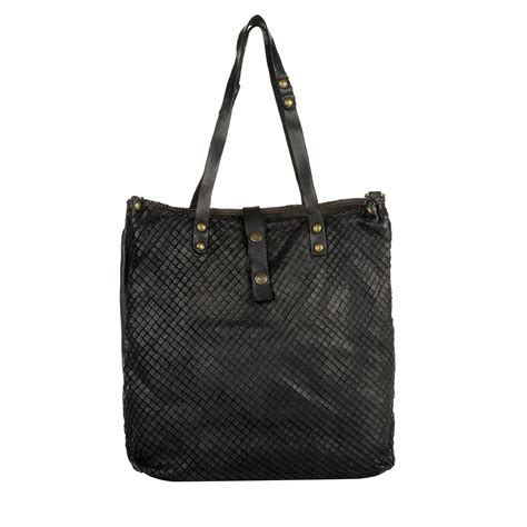 Braided Leather City Bag - comaggi braided leather shopping bag black in schwarz