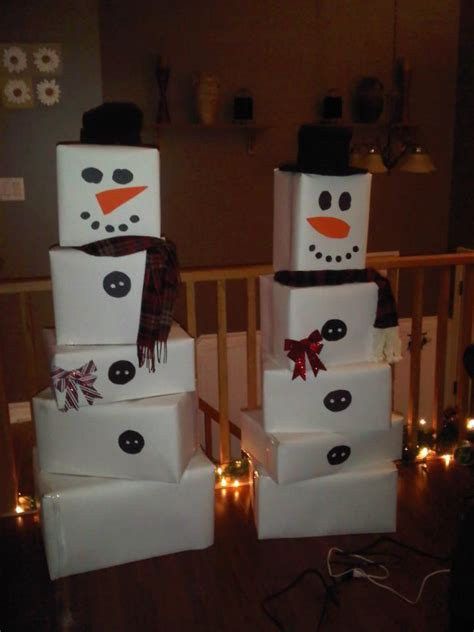 7 Great Pieces Of Snowman Decor by Snowmen Made Out Of Bristol Board Covered Cardboard Boxes