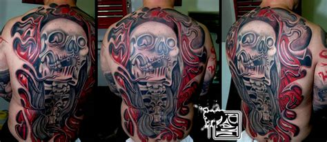 artistic colorful back tattoo balinese tattoo miami