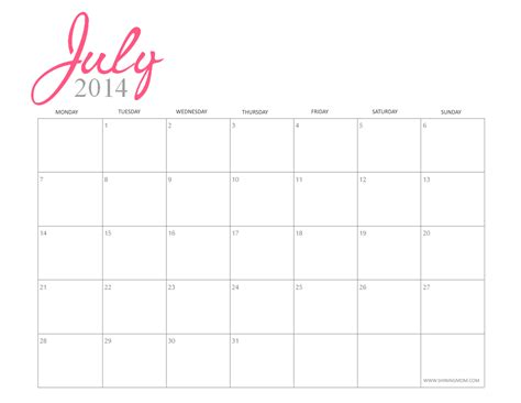 printable calendar girly printable july 2014 calendars