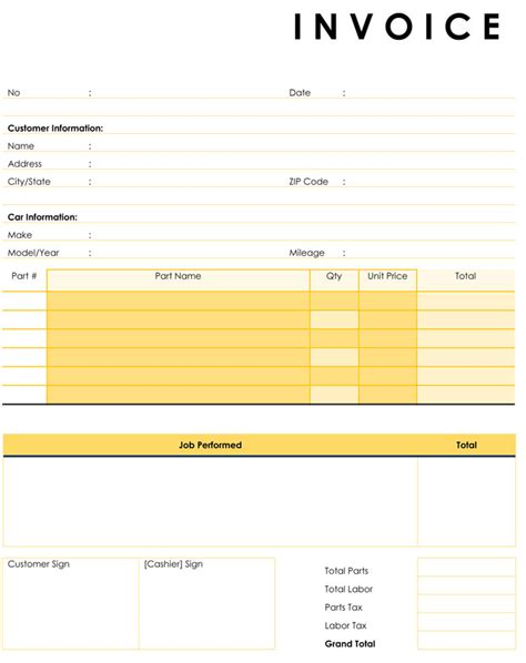 printable auto invoice auto repair invoice templates 10 printable and fillable