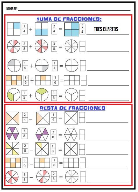 suma y resta de fraccionarios para nios de tercer grado fichas de primaria ficha de suma y resta de fraccionarios