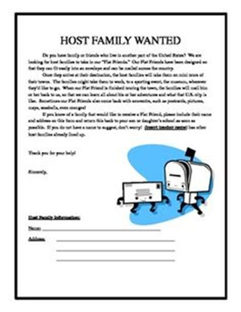Introduction Letter Host Family Flat Stanley S Travel Journal Teaching Stuff