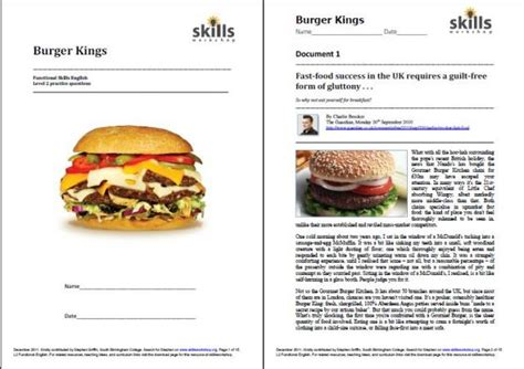 burger functional skills practice skills