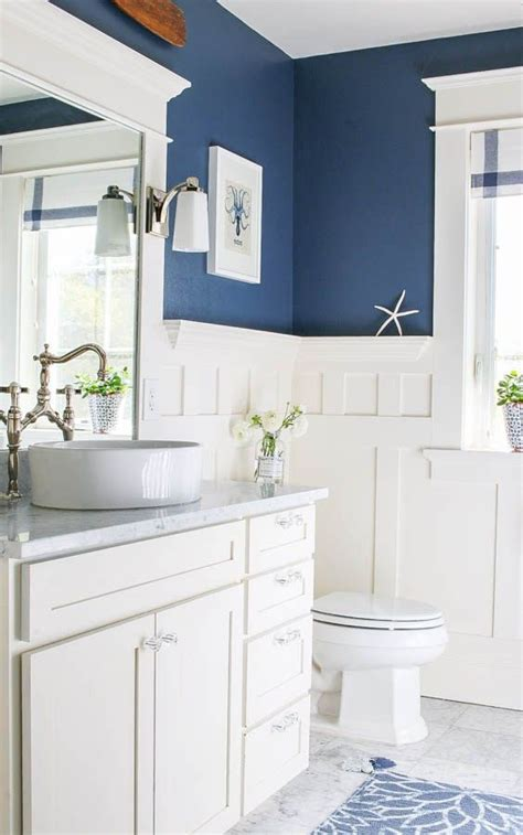 navy blue  white bathroom bathrooms beach house