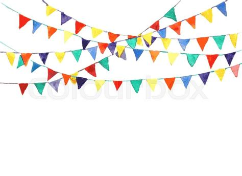 Outdoor Decoration by Bunting Flags Made With Watercolor Vector Stock Vector