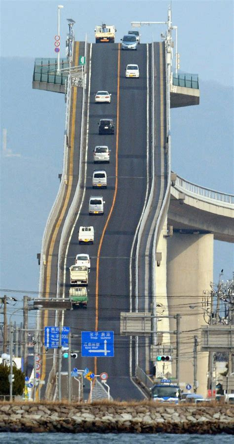 japanese bridges eshima ohashi bridge a tall bridge in western japan that