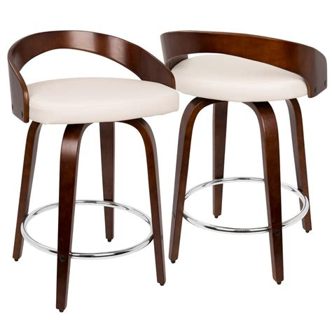 Lumisource Grotto Counter Stool by Lumisource Grotto Cherry Wood And White Swivel Counter
