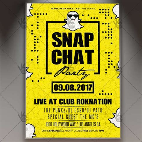 Snap Chat Party Premium Flyer Psd Template Psdmarket Snapchat Ad Template