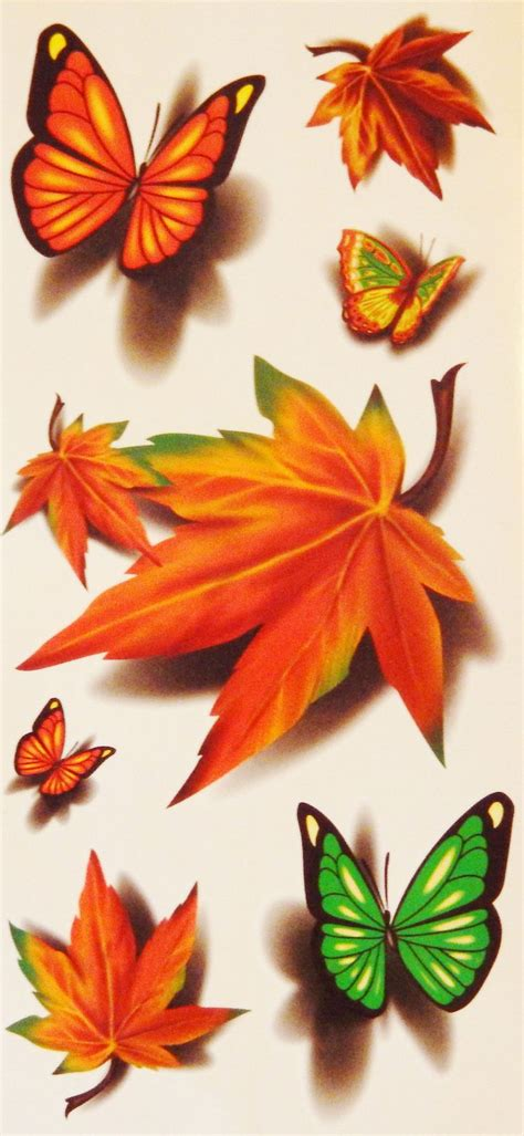 fall leaves and butterflies temporary tattoos for