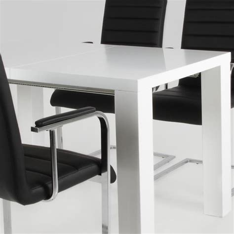 Extendable Meeting Table Lounge Zone Dining Table Dining Room Table Conference Table Spicie White High Gloss Extendable