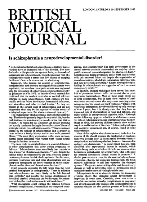 Schizophrenia Research Letter To The Editor Is Schizophrenia A Neurodevelopmental Disorder The Bmj