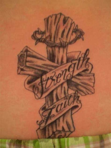 wooden cross tattoo designs wooden banner barbed wire cross