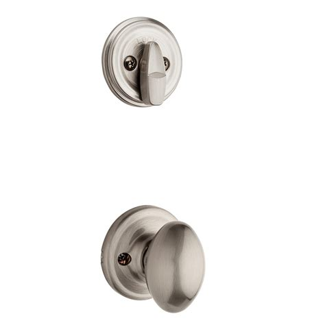 Satin Nickel Interior Door Knobs Shop Kwikset Aliso 1 3 4 In Satin Nickel Single Cylinder Knob Entry Door Interior Handle At