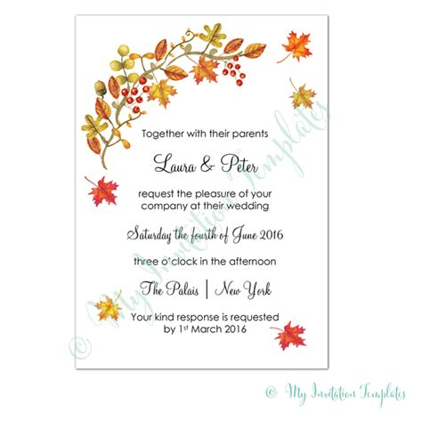 fall printable wedding invitation templates fall wedding invitation template