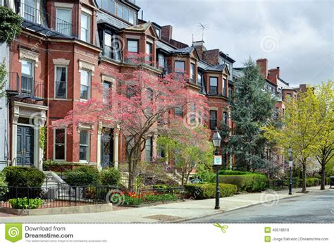 New England Style House Plans back bay boston in the spring stock photo image 40518619