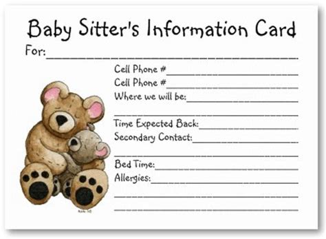 Babysitting Card Template by Id Card Template Baby Emergency Card Template