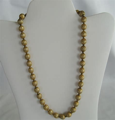 gold beaded jewelry trifari gold tone beaded necklace from thedaisychain on