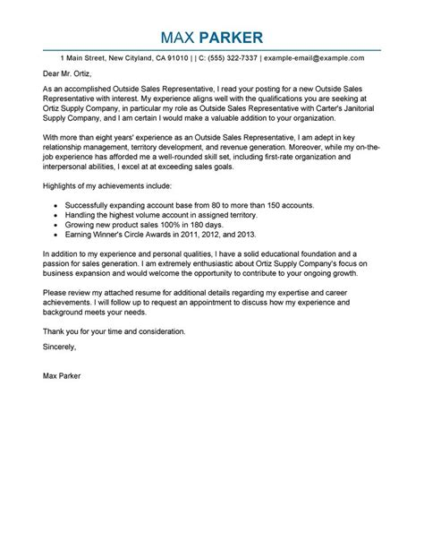Cover Letter For Sales Rep Position by Outside Sales Representative Cover Letter