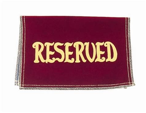 reserved signs for church pews