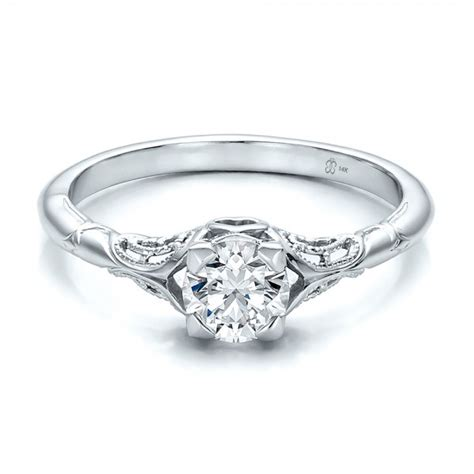custom engraved solitaire engagement ring