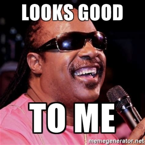 Looks Good To Me Meme - looks good to me stevie wonder meme generator