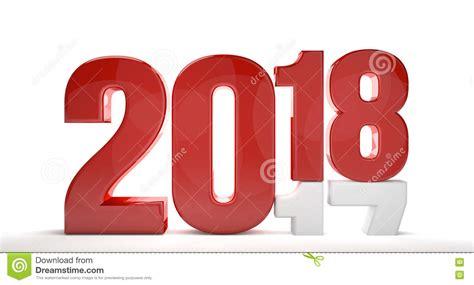 next new year 2017 2018 2017 white 3d render stock illustration