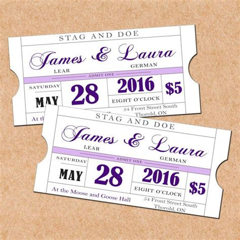 stag tickets template purple printable stag and doe tickets diy wedding
