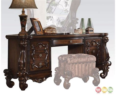 oak bedroom vanity versailles traditional 7 drawer vanity desk in rich cherry oak