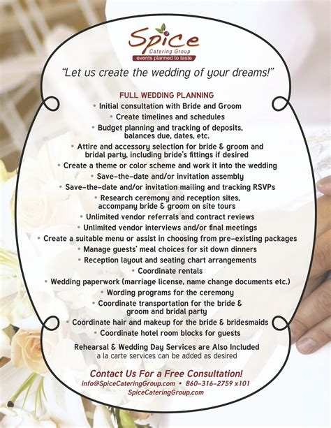 Wedding Planner Price Packages by Amazing Wedding Planner Packages Spice Catering Page