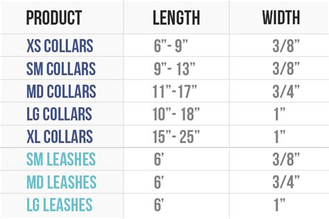 collar sizes leash and collar size chart