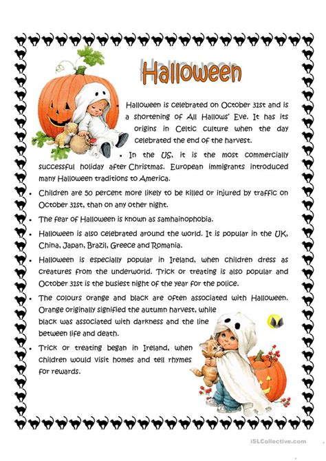 halloween facts worksheet  esl printable worksheets
