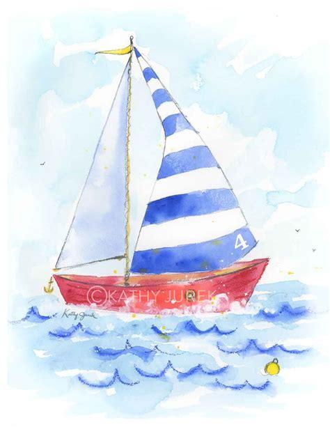 sailboat prints blue striped sailboat art print printing watercolor and