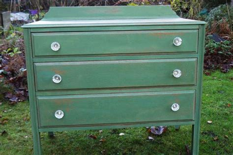 Vintage Shabby Chic Green Hand Painted Chest Of Drawers In Shabby Chic Green Paint