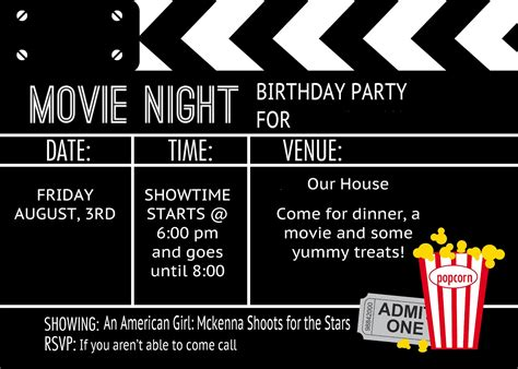 movie night birthday party invitations free wedding