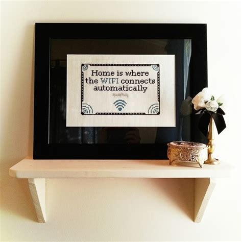 cross stitch for the guest room quot home is where the wifi