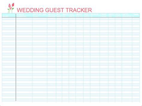 16 Wedding Guest List Templates Pdf Word Excel Sle Templates Printable Wedding Guest List Template