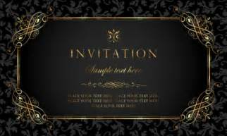 black and gold vintage style invitation card vector 01