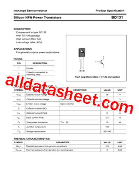 transistor company bd131 datasheet pdf inchange semiconductor company limited