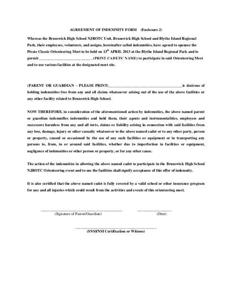 agreement of indemnity form