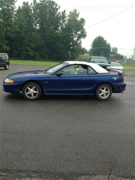 1996 ford mustang gt convertible for sale find used 1996 blue ford mustang gt convertible in mooers
