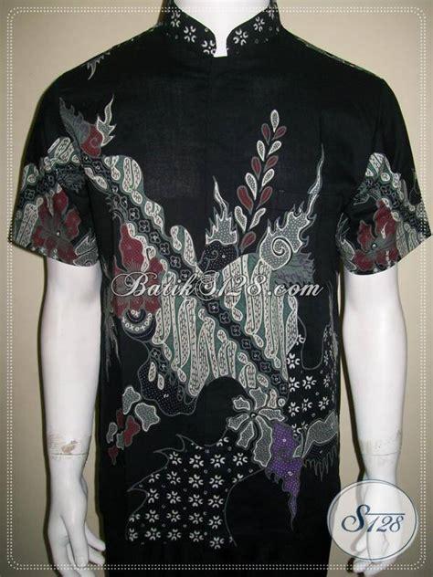 Kemeja Batik Pria Kerah Sanghai baju batik kerah shanghai pria warna hitam dijual harga murah terjangkau ld579t m