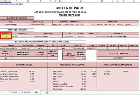 boletas de pago planilla de remuneraciones excel negocios planilla de remuneraciones con boletas de pago en excel