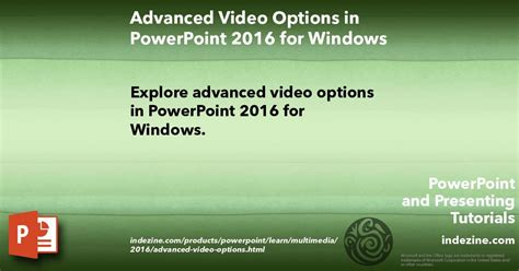 advanced powerpoint tutorial videos advanced video options in powerpoint 2016 for windows