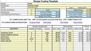 menu costing template excel recipe costing template exle chef tools