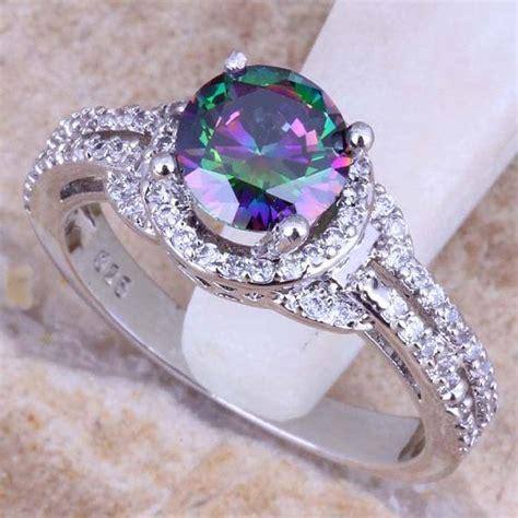 precious rainbow mystic topaz white topaz 925 sterling silver ring them