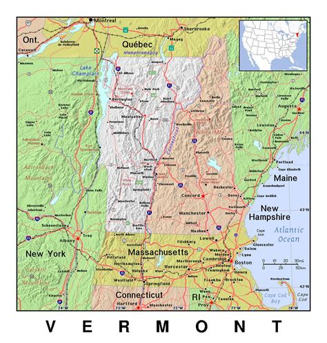 vermont united states map detailed map of vermont state with relief vermont state